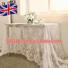Rectangle White Lace Tablecloth Home Party Wedding Table Cloth Cover 150x300cm