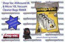 Shop Vac 8-10L Vacuum Cleaner Bags - 90668 Pk5 - NEW - GENUINE - IN STOCK
