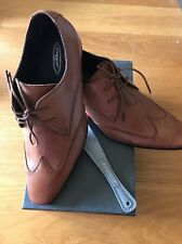 Mens Front leather shoes Milan Tan lace up size 9/43 formal wedding cheap Sale