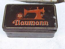 ANTIQUE VINTAGE GERMAN NAUMANN SEWING MACHINE TOOLS AND NEEDLES IN TIN BOX