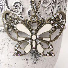 Neu 77cm HALSKETTE Schmetterling STRASSSTEINE Kristall AB BUTTERFLY Necklace