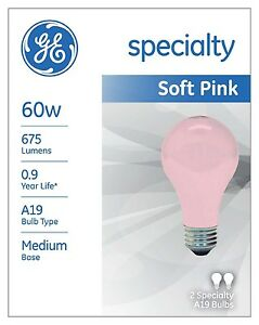 GE Soft Pink Wedding Party Mood 60 60w or 100 Watt Relaxing Light Bulb 97484