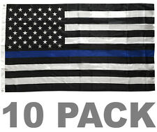 10 Pack 3x5' Blue Lives Matter Police Usa American Thin Blue Line Flag - Usa