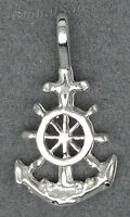 Genuine 925 Sterling Silver Small Anchor w/Cross Charm Pendant