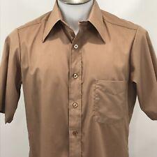 Vintage 1970s Mens Essley Large Collar Half Sleeve Casual Dress Shirt