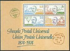 Malta - 100 Jahre Weltpostverein Block 4 postfrisch 1974 Mi. 497-500