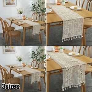 Lace Table Cloth Clean Rectangle Embossed Vintage Crochet Beige Table Runner