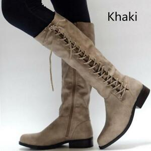 Women Knee High Leather Boots Low Heel Lace Up Zip Riding Motorcycle Boots Shoes