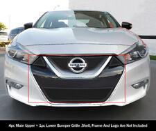 Fits 2015-2018 Nissan Maxima Upper+Bumper Black Mesh grille insert combo