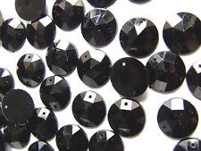 120 Black Faceted Beads Acrylic Rhinestones/Gems 12 mm Round Flat Back Stitch On