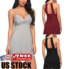 Women's Sexy Lace Sleepwear Lingerie Nightdress Nightgown Babydoll Robe Dress US