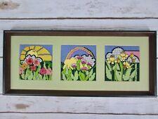 Vtg Needlepoint Art Bright Flower Landscape Sun Rainbow Complete Finished Frame