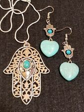 hamsa hand of protection jewelry silver turquoise necklace earrings FREE SHIPPIN