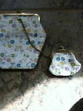 vintage 2pc womens floral purse and coin purse chain attach