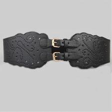 Women Vintage Leather Hollow Waist Belt Wide Side Elastic Waistband Dress Decor