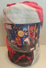"Marvel 50"" X 60"" Super Soft Plush Throw Blanket Cptn America Spiderman Iron Man"
