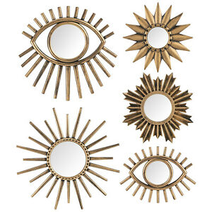 5 Golden Brushed Eye Mirrors