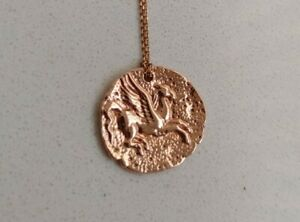 Custom 14K Rose Gold Pegasus Coin Pendant on 10K Chain Alighieri Foundrae Ylang