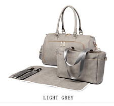 Light Grey PU Leather Maternity Mummy Baby Changing Bag Nappy Diaper Wipe Clean