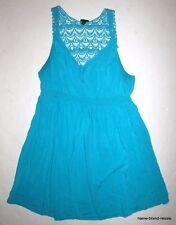 TORRID Aqua Lace Crochet Back Dress PLUS 1 1X Empire Flare Knee Length SEXY