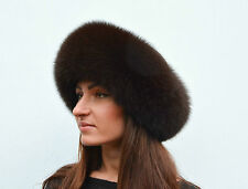 Crafted Brown Chocolate Fox Fur & Brown Leather Women's Winter Vault Roller Hat