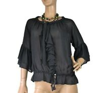 RAER (ITALY) SIZE 42 (14) SHEER RUFFLE TOP AS NEW