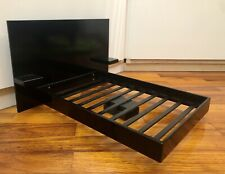 """Black Laquered Bed Wooden Fashion Royalty Barbie 12"""" 1:6"""