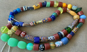 "OLD African Italian Trade Bead Necklace 71 Beads 27"" Colorful #23 Red Feather"