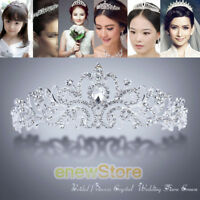 Wedding Bridal Princess Crystal Tiara Rhinestone Crown Hair Accessory Silver