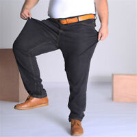 Men's Stylish Black Cotton Baggy Jeans Loose Fit Stretch Pants Trousers 36-52