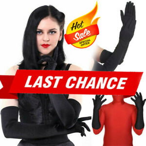 Black Long Lycra Stretch Glove Elbow Superhero Opera Costume Halloween XS-XL US