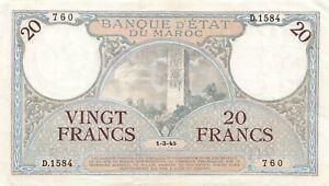 Morocco 20 Francs 1945 P-18b XF