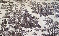 """Toile Fabric Black and White Country 1 Yard by 43"""" Lightweight Cotton Vintage"""