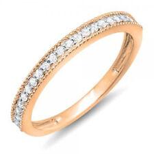 14k Rose Gold Diamond Ladies Millgrain Wedding Stackable Band 1/4 CT (Size 8)