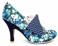 NEW IRREGULAR CHOICE *FLICK FLACK* NAVY FLORAL FABRIC (CA) HEELS-40/41-UK 6-7.5