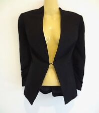 Stunning black linen office jacket by high-end brand DAVID LAWRENCE sz10 NWT!