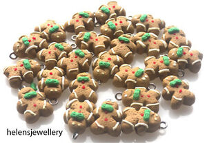 10 GINGERBREAD MEN CHARMS - POLYMER FIMO UNIQUE BEAUTIFUL 🎄🎁☃️