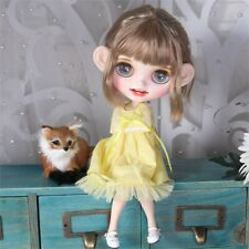 """12"""" Blythe Nude Doll from Factory Flaxen Short Hair Eyebrow Smile Mouth+Teeth"""