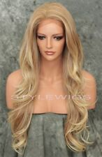 Light Blonde Mix Long Wavy Heat OK Lace Front Synthetic Hair Wig SAKI 27/613