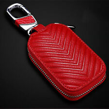 Red Car Key Chain Bag FOB Remote Coin Holder Case Zipper Pouch Wallet Leather