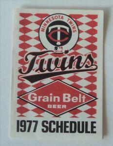 1977  Minnesota Twins Schedule Grain Belt Beer   - FLASH SALE