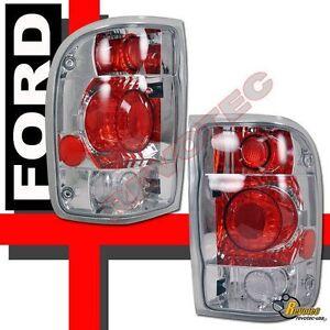 1998-2000 Ford Ranger Pickup Chrome Tail Lights Lamps 1 Pair