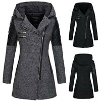 Women Warm Slim Jacket Thick Overcoat Winter Outwear Hooded Zipper Woolen Coat