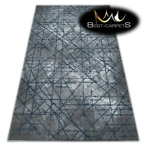 SOFT AMAZING ACRYLIC RUGS VALENCIA Very Thick light blue lines HIGH QUALITY
