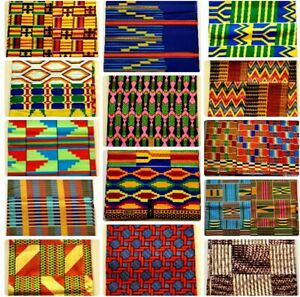 African Kente Print Fabric Patching Quilting Crafts sewing Fat Quarter / Bundle
