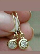 2 CT Round Cut Diamond Lever Back Drop & Dangle Earrings 9Ct Yellow Gold Finish