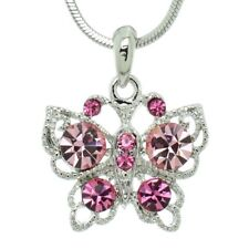 Wings Pendant Necklace Jewelry Charm Butterfly Made With Swarovski Crystal Pink