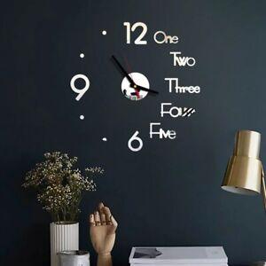DIY Digital Wall Clock 3D Mirror Surface Sticker Silent Clock Home Room Decor
