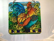 Joan Baker hand painted 4x4 Suncatcher Rooster Beautiful Colors NWT