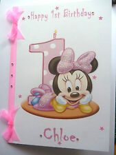 Personalised Hand made A5 Baby(Girl) Minnie Mouse 1st Birthday card